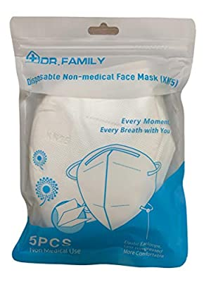 Disposable KN95 Face Masks, Non-Woven 5-Layer Disposable Mask, Elastic Ear Loops, Adjustable Nose Wire, Light Weight, Perfect for Office, 5 Units/Bag from Jiadaifu