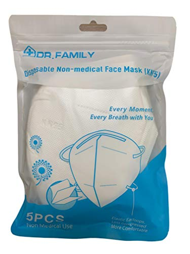 Dr. Family Disposable KN95 Face Masks, Non-Woven 5-Layer Disposable Mask, Elastic Ear Loops, Adjustable Nose Wire, Light Weight, Perfect for Office, Travels, and Indoors, 5 Units/Bag
