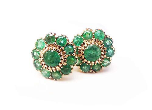 Pendientes de tuerca con diseño de flores de esmeralda
