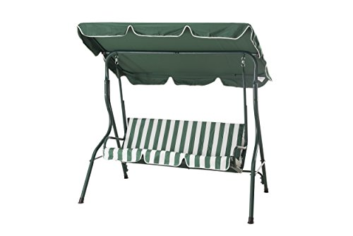 Sunjoy Coral Coast Tortuga Cay 3-Seat Striped Adjustable Tilt Canopy Metal Swing