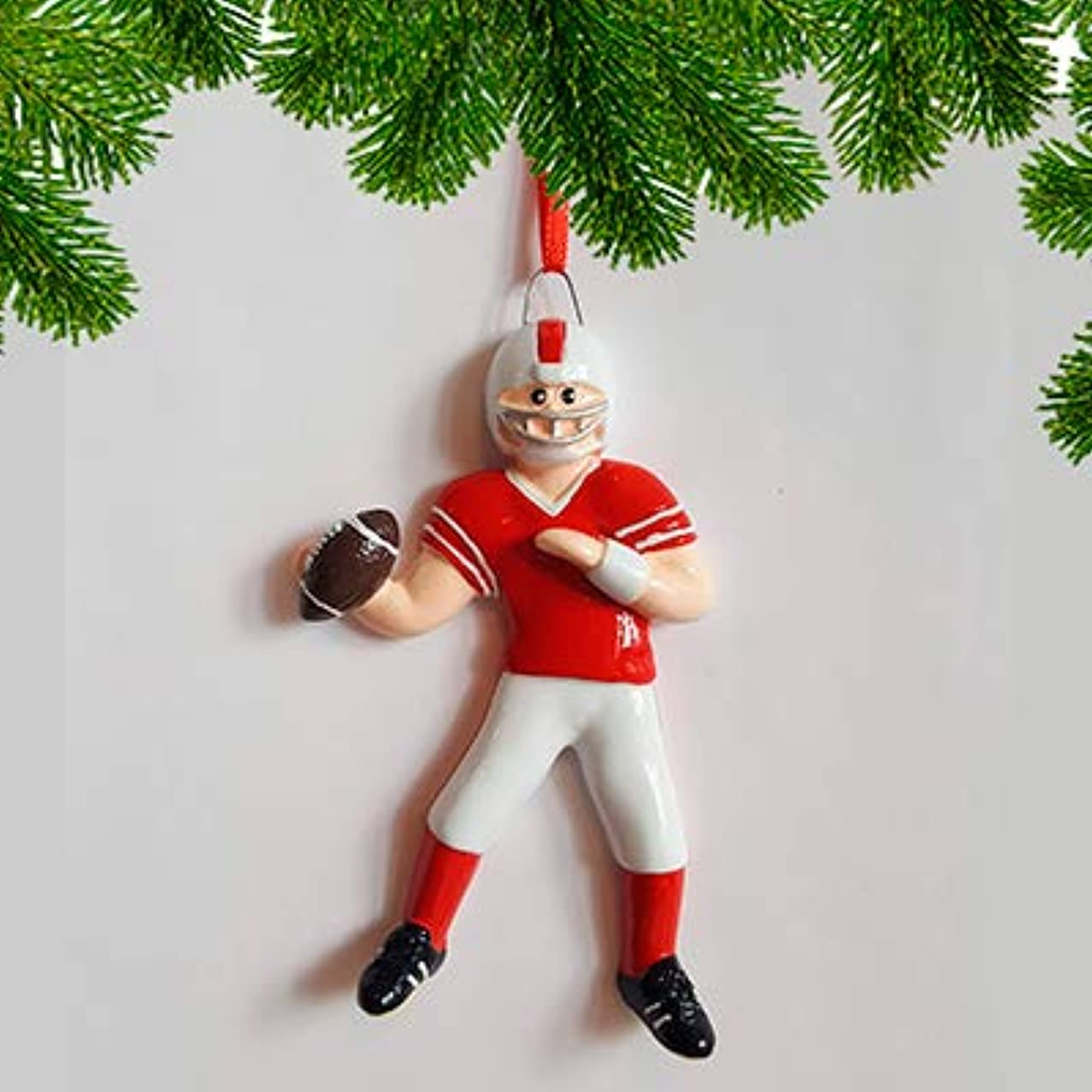 Personalized Football Boy Christmas Tree Ornament 2019 - Goal Star Team Athlete Playing Red Uniform Helmet Running Gridiron Score Profession Hobby School Coach Grand-Son Year - Free Customization