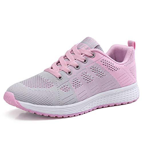 Zapatillas de Deportivos de Running para Mujer Gimnasia Ligero Sneakers Rosa 40