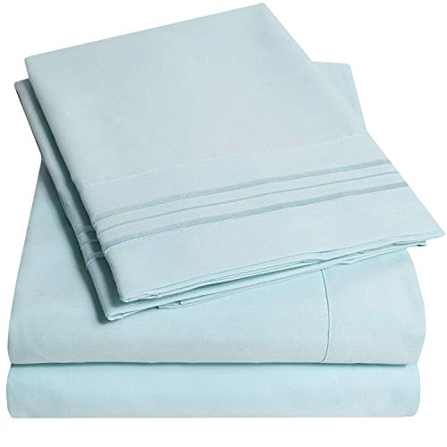 1500 Supreme Collection Bed Sheet Set - Extra Soft, Elastic Corner Straps, Deep Pockets, Wrinkle & Fade Resistant Sheets Set, Luxury Hotel Bedding, California King, Light Blue