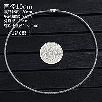 ステンレス硬線、 10ピースステンレス鋼304ワイヤーロープ透明PVCコーティングワイヤーロープスリングキーリングキーチェーン取り外し可能なネジ付き (Size : 10PCS 10CM Diameter)