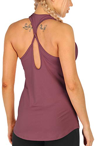 icyzone - Camiseta de Entrenamiento para Mujer con Espalda Abierta, Camiseta de Yoga atlética, Camisetas de Gimnasio(M,)
