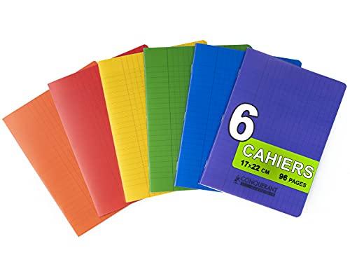 Oxford 6 cuadernos grapados 17 x 22 cm, cuadrados grandes Seyès 96 páginas, 90 g