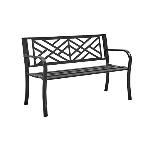 FiNeWaY Stylish 2 Seater Cast Iron Metal Garden Outdoor Back Park Bench Seat Furniture Cross Line - Loveseat Conservatory, Patio, Lawn or Garden Seat