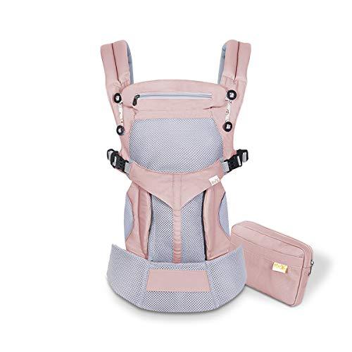 SONARIN Mochila portabebé Transpirable Premium,Ergonómica,capucha de dormir,para recién nacidos y bebés(3-48 meses),carga máxima 20 kg,Soporte para la Cabeza,Marsupio portabebé(Rosado)