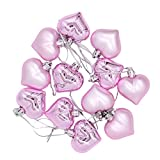 Veemoon - 12 palline di Natale decorative a forma di cuore, pendenti, decorazione per feste, regalo per hotel, bar, albero di Natale, vacanze, matrimonio, lampadina da festa