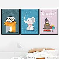 漫画の壁アートキャンバス絵画セイウチ象フクロウ北欧のポスターとプリント写真女の子男の子部屋家の装飾(70x90cm)X3フレームレス