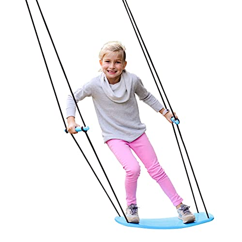 """Swurfer Kick Stand Up Outdoor Surfing Tree Swing for Kids Up to 150 Lbs - Hang from Up to 10 Feet High - Includes 24"""" SwingBoard, UV Resistant Rope, & Handles"""
