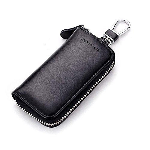 Unisex Mens Womens Premium Leather Car Key Holder Bag Keychain Case Wallet with 6 Hooks Zipper Closure, Black