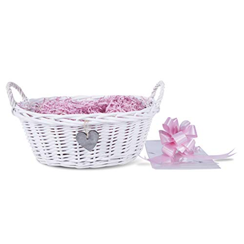 Baby Christening New Born Gift Hamper Wicker Basket Shredded Paper Cello Wrap Pu (Pink)