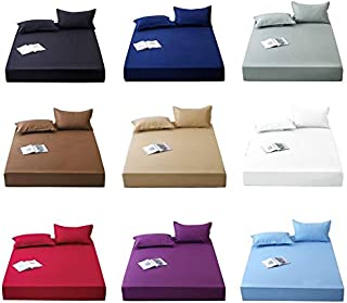 ZOUJIN Fitted Bed sheet/bolster case/Pillow case Single/Super Single/Queen/King Size Pure Color (Color : Sky blue, Size : ...