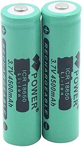 Batería Recargable Nuevo Botón Superior Batería de Iones de Litio ICR 18650 3.7V 4500mAh Baterías de reemplazo Recargable de Litio para Linterna-2 Piezas