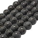OLYCRAFT 47pcs 8 mm Cuentas de Ágata Negra Natural Hebra de Piedras Preciosas Esmeriladas Cuentas Redondas Sueltas Cuentas de Piedra Energética para Hacer Joyas - 14 Pulgadas