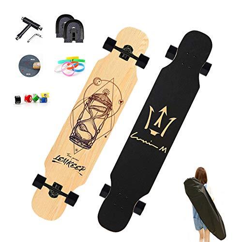 WRISCG Longboard Komplettboard Skateboard, 127×25 Longboard Cruiser, High Speed ABEC Kugellagern, Beginner Longboard Drop Down Downhill Komplettboard, Longboards für Jugendliche und Erwachsene,A