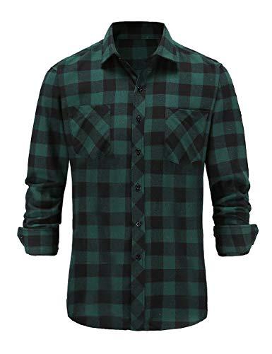 Dioufond Camicia Flanella Uomo Maniche Lunghe Camicie a Quadri Uomo Flanella Verde 2XL