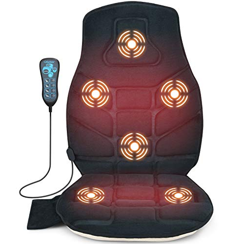 Giantex Memory Foam Massage Seat Cushion with Heat, Back Massager with 6 Vibration Massage Nodes & 2 Heating Pad, Massage Chair Pad for Home Office Chair