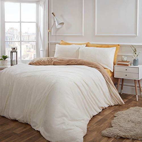 Brentfords Super Soft Teddy Duvet Quilt Bedding Set, Latte Mink Cream, King
