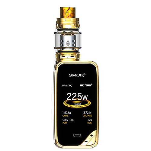 SMOK X PRIV Kit 225W TFV12 Prince 8mL Tank E Cigarette Starter Kit -Includes the BTKSY key fob - no nicotine - no smoke oil (Prism Gold)