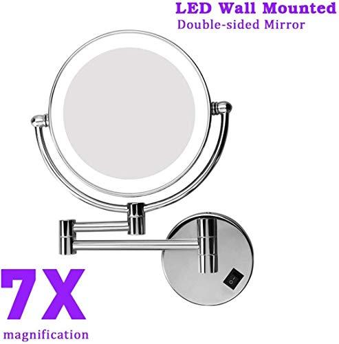 Excelvan Espejo de Pared con Aumento 7X y Normal, con Luz LED, 8 Pulgadas, Redondo Giratorio de 360 Grados para Baño y Maquillaje, Plateado