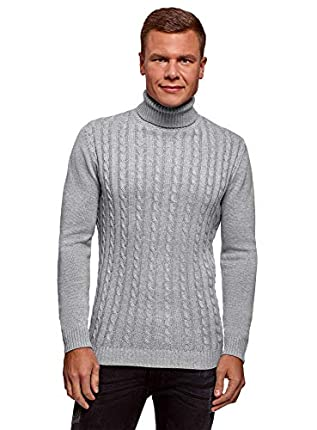 oodji Ultra Hombre Jersey de Punto Trenzado con Cuello Alto, Gris, ES 50 / M