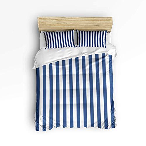 Butlerame 3 Piece Bedding Set Closure Simple Blue White Stripe Comforter Cover Set Duvet Cover BDP-024