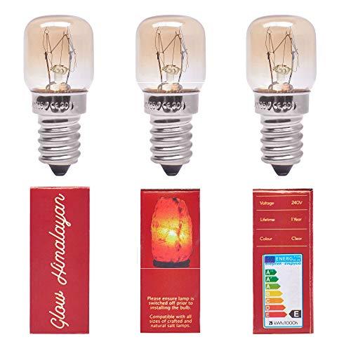 3 bombillas de 25 W para lámparas de sal del Himalaya, casquillo E14 regulable, repuesto original.
