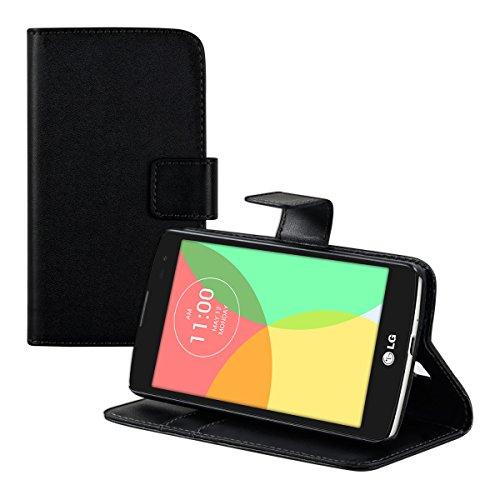 kwmobile Hülle kompatibel mit LG L Fino - Kunstleder Wallet Hülle mit Kartenfächern Stand in Schwarz