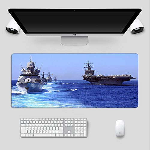 Mouse Pads Naval Warship RGB Mouse Pad Led Gaming Glowing Mat with Non-Slip Rubber Base for Computer Keyboard Mice Pads for Gamer Gaming-Lockedge_11.81'x23.62'