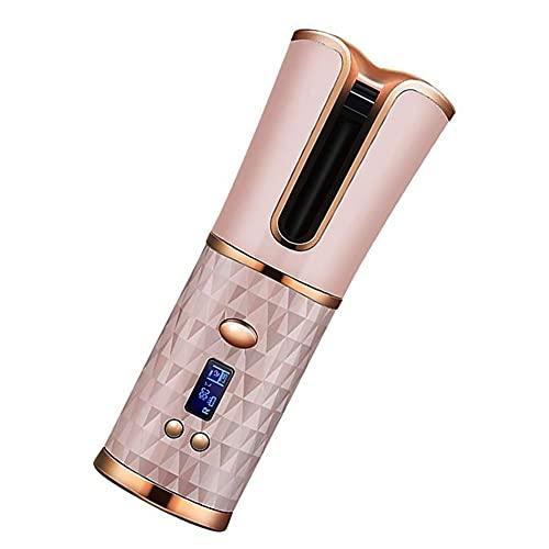 Rizador De Pelo Automatico Inalámbrico, Restricción De Rizador Pelo Automático Inalámbrico Con Batería Incorporada, Rizador De Pelo Profesional De Cerámica Con Carga USB,Pink