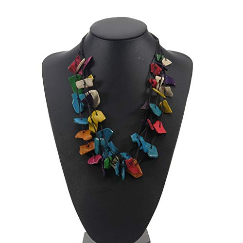 Amosfun Böhmische Halskette Kokosnussschale Bunte Perlen Halskette Beach Party Schmuck Geschenk für Frauen Damen Ornament (Perlen Zufällige Farbe)