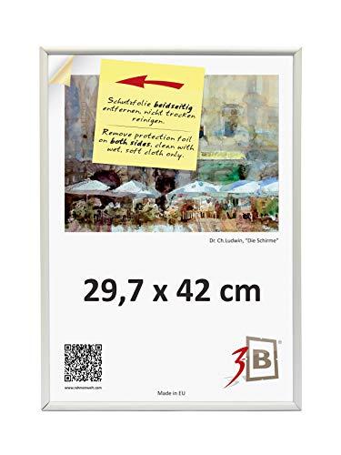 3-B Bilderrahmen Foto - 29,7x42 cm (A3) - weiß - Fotorahmen, Kunststoffrahmen mit Polyesterglas.