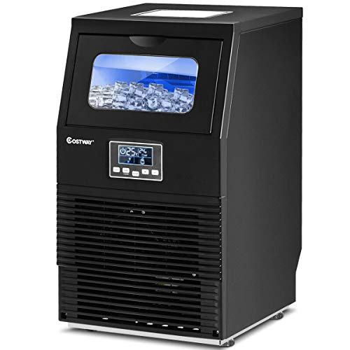 COSTWAY Commercial Ice Machine, 88LBS/24H Automatic Portable Freestanding Ice...