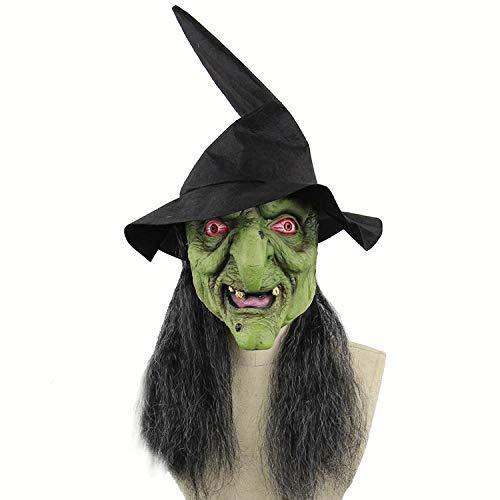 ZWRY Máscara Halloween Máscara de Bruja Látex Cabeza Completa Máscara de Miedo Carnaval Disfraz de Mascarada Cosplay Accesorios de Fiesta Decoración de Fiesta Máscara de Bruja