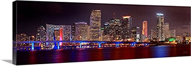CANVAS Miami Skyline NIGHT 16 inches x 46 inches COLOR City Downtown Photographic Panorama Print Photo Picture