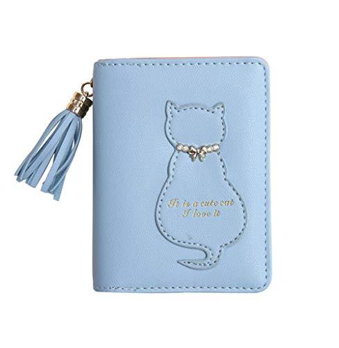 Oyccen Süße Katze Damen Brieftasche Quaste Kurze Geldbörse Reißverschluss Geldbeutel PU Leder Kartenhalter