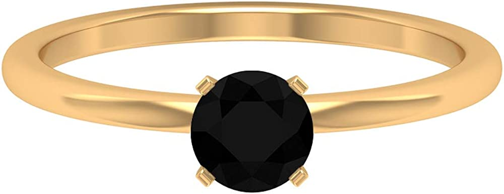 3/4 CT Black Diamond Ring for Women, Solitaire Engagement Ring Gold, Women Anniversary Ring, Black Stone Wedding Ring Sets, Promise Matching Ring Gift, 14K Gold