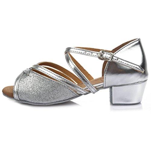HROYL Niñas Zapatos de Baile/Zapatos Latinos de satín el Plateado E-206 EU 31
