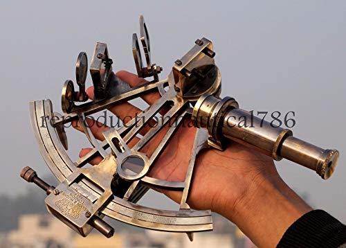 Hecho a mano náutico antiguo latón macizo sextante maríti
