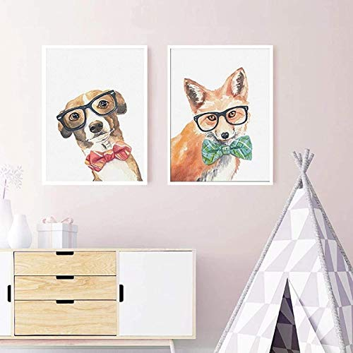 XMYC Poster Artworks Cool Dog Fox Animals Poster Printings Nordic Wall Art Pictures for Nursery Kids Room Home Decor2 piece 19.7x27.6in(50x70cm) no frame