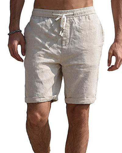 Gemijacka Leinen Shorts Herren Kordelzug Kurze Hose mit 4 Tasche Bermuda Hose Sommer,M,Beige