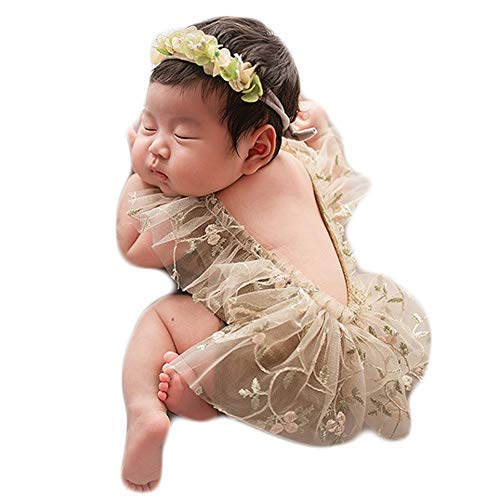Baby Photography Props Lace Hats Outfit Newborn Photo Shoot Outfits Infant Girl Photos Costume Set (Brown)