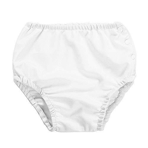 Wiederverwendbare Baby Schwimmwindel Einstellbare Waschbare Badeanzug Windel mit Druckknopf für Säuglingsmädchen Jungen (100-Weiß)