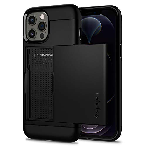 Spigen Funda Slim Armor CS Compatible con iPhone 12 y Compatible con iPhone 12 Pro - Negro