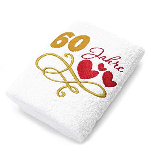 Abc Casa Geschenk-Handtuch zum 60 Geburtstag mit aufgestickten Herzen und 60 Jahre für Frauen und Damen - eine praktische 60 jähriges Jubiläum Geschenkidee - nützliches 60 Jahre Geburtstagsgeschenk