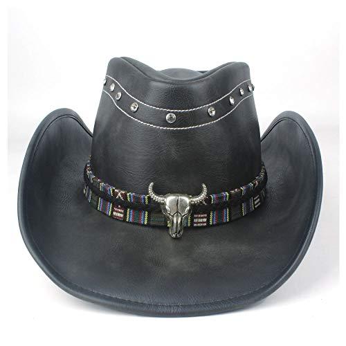 Salle Vivant « Nice Chapeau de Cowboy Occidental, 100% Cuir, Spectacle de Plein air Sombrero Black Show for Hommes et Femmes (Color : Black, Size : 58-59cm)