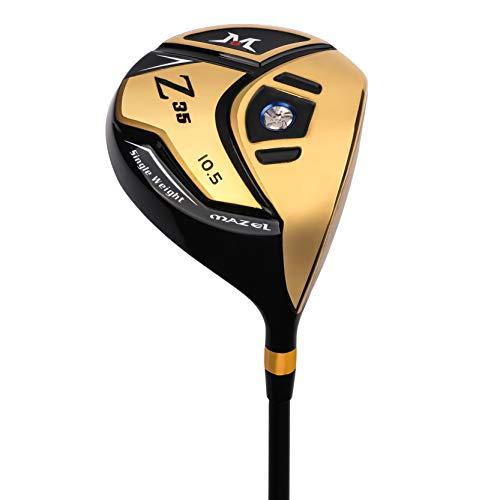 MAZEL Titanium Golf Driver for Men,Right Handed,460CC (Right, Graphite(Golden Head), Middle (SR), 10.5)