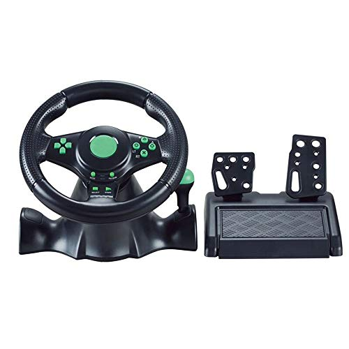 WSMLA Commentaires Driving Force à double moteur de jeu Racing Wheel avec des pédales for Responsive et Wheel Racing Simulator Volants avec 2 pédales Vibration Feedback couronne d'orientation antidéra